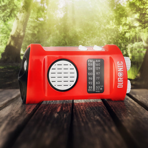 Duronic AM/FM Radio ECOHAND | LED Torch | Charge 2 Ways: Wind Up, USB | Dynamo Crank Rechargeable | Headphone Jack | Integrated Flashlight | Portable | For Emergency Use | Camping, Hiking, Fishing