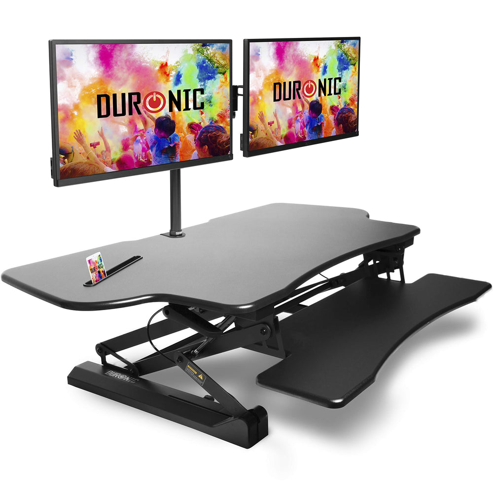Duronic Sit Stand Desk DM05D4 Height Adjustable PC Laptop Workstation – for PC Computer Laptop | Monitor and Keyboard Riser | Ergonomic Desktop Table Converter – Compatible with Duronic Desk Mount