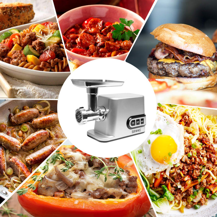 Duronic MG301 Electric Meat Grinder Mincer | Burger, Sausage, Mince and Kibbe Maker | 3000W Max Power Motor | Silver