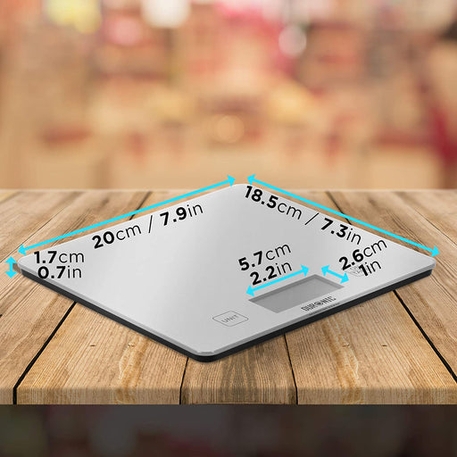 Duronic Kitchen Scales KS1080 | 10KG Capacity | Silver Glass Platform | Digital Display | Add & Weigh Tare | 0.01g Precision | Measure for Cooking & Baking | Use as Postage Scales for Letters/Parcels