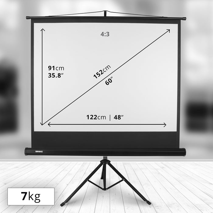 "Duronic Projector Screen TPS60 /43 60"" Portable Tripod Projection Screen Brilliant Matt White For 