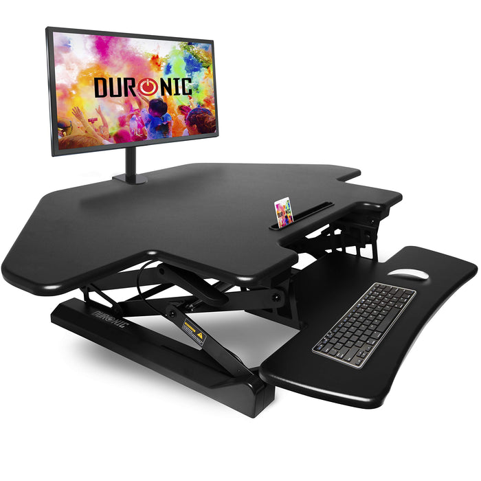 Duronic DM05D5 Corner Sit-Stand Desk | Height Adjustable | Office Workstation | 110x41cm Platform | Raises 15-50cm | Riser for PC Computer Screen, Keyboard, Laptop | Ergonomic Desktop Table Converter