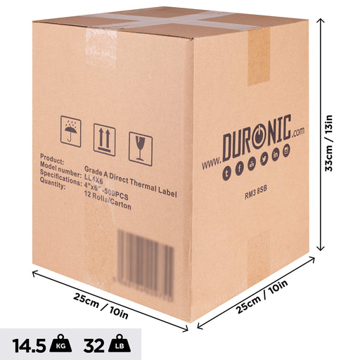 "Duronic Thermal Labels LL4X6 (24 Rolls) | 500x Label Roll | 100x150mm (6x4"") 