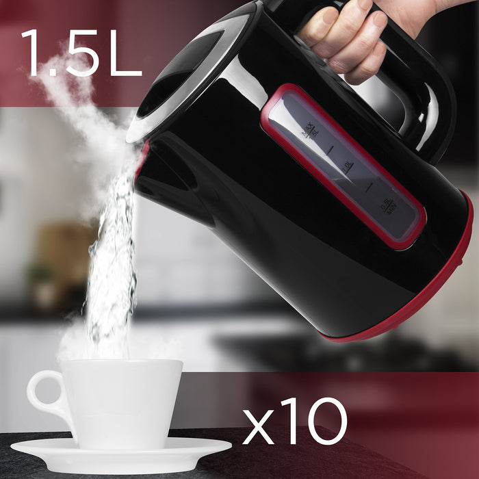 Duronic Electric Kettle EK30 | Cordless 1.5L Fast Boil Kettle | Eco 3000W Variable Temperature Control | Keep Warm Function | Red / Black / Stainless-Steel | Energy Efficient | Insulated Cool Touch…