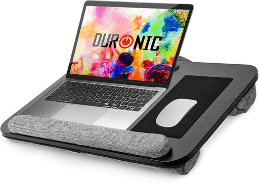 Duronic Laptop Tray with Cushion DML433 | Ergonomic Lap Desk for Bed, Sofa, Car | Built-in Mouse Pad, Wrist Pad and Tablet Holder | Black/Grey | Portable Design with Carry Handle| For Home/Office