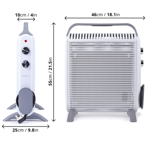 Duronic Slimline Heater HV180 with Mica Panels | 1.8kW / 1800W | Electric | Radiant and Convection | Micathermic | White Convector Heater with Thermostat | 2 Heat Settings | Oil Free |1 Minute Heat Up