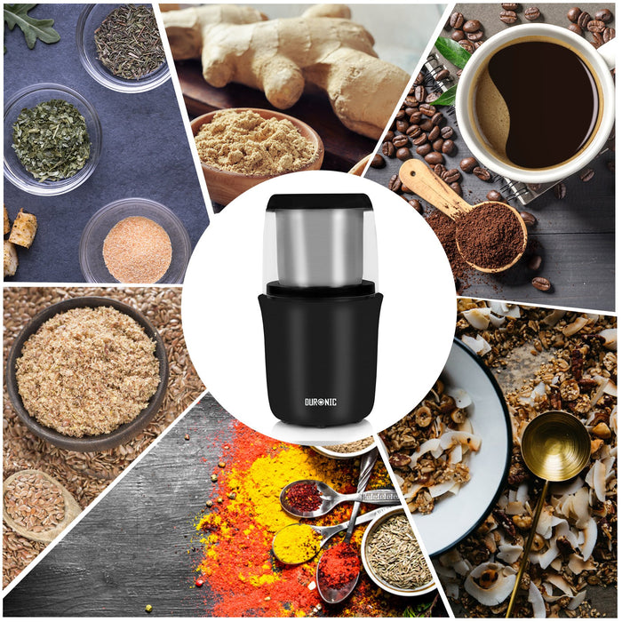 Duronic CG250 Premium 250W Electric Coffee Grinder Motor Coffee Bean Spice Nut Stainless Steel Blade Mill