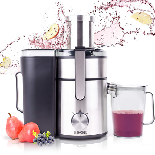 Duronic Juicer JE10 | Centrifugal Juice Extractor | 2 Speed Settings | 1000W | Stainless-Steel | Wide Mouth | For Whole Fruit and Vegetables | Homemade Freshly Squeezed Juice | BPA-Free | With 1.1L Jug