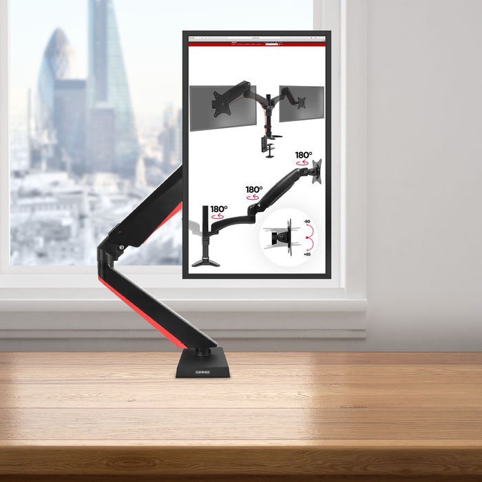 Duronic Monitor Arm Stand DMGM5X1 | Single PC Desk Mount with Red LED Lights | Height Adjustable | For One 15-32 Inch Screen | VESA 75/100 | 8kg Capacity | Tilt +90°/-85°, Swivel 360°,Rotate 360°