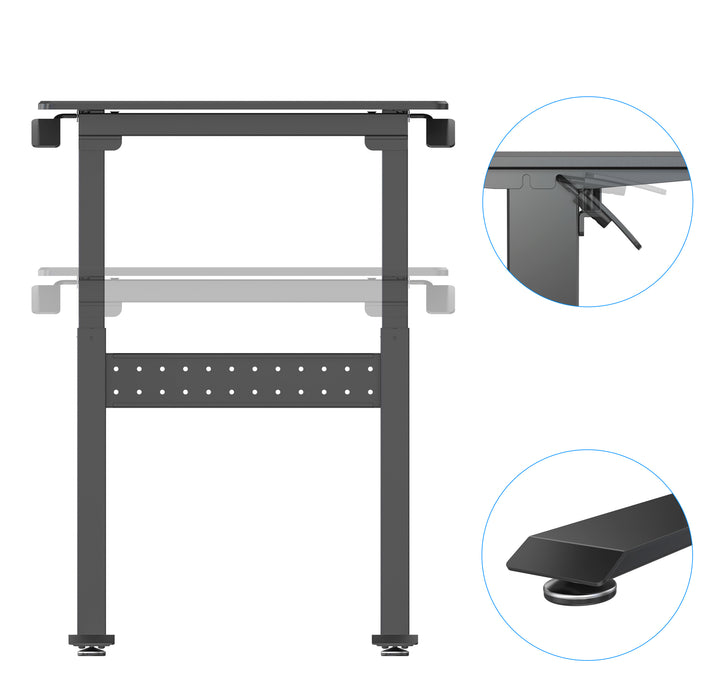 Duronic Sit-Stand Desk TM04F | Black Ergonomic Desk | Multi-Use Home Office Table | Ideal for both Adults & Children | 71x56cm Platform | Adjustable Height 72-114cm | 15kg Capacity | For Home / Office