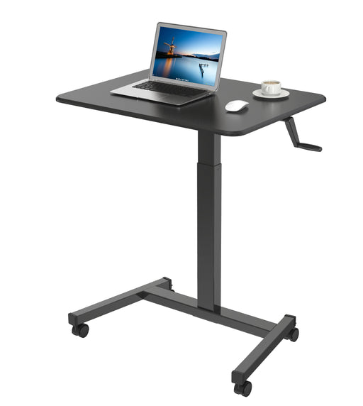 Duronic Sit-Stand Desk WPS47 | Portable Ergonomic Desk for Laptop | 80x50cm Platform | Multi-Use Video Projector Table on Wheels | Adjustable Height by Handle | 30kg Capacity | Home Office Workspace