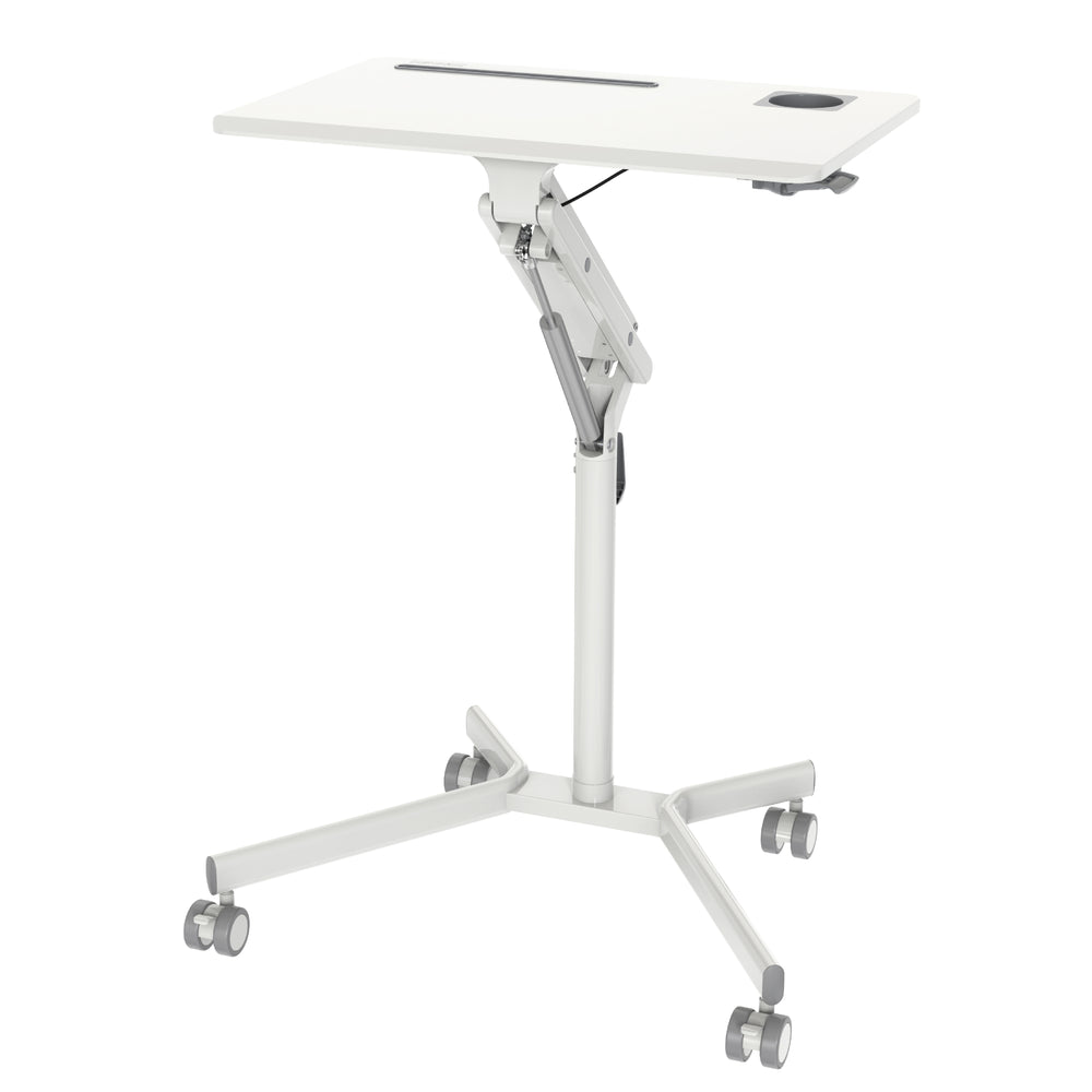 Duronic Sit-Stand Desk WPS57 | WHITE Ergonomic Desk with Tablet Support & Cup Holder | Multi-Use Table on Wheels | 70x52cm Platform | Adjustable Height & Reach | 10kg Capacity | For Home/Office