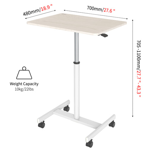 Duronic Sit-Stand Desk WPS67 | Brown/White Ergonomic Desk | Multi-Use Video Projector Table on Wheels | 70x48cm Platform | Portable | Adjustable Height | 30kg Capacity | For Home/Office/Workspace