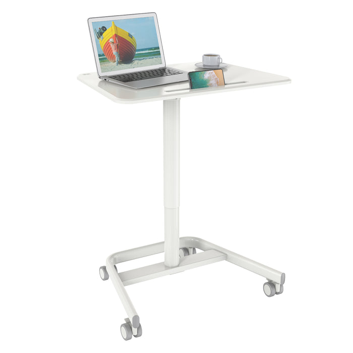 Duronic Sit-Stand Desk WPS77 | White Ergonomic Desk with Tablet Holder | Multi-Use Table for Adults & Children | 71x50cm Platform | Portable with Lockable Wheels | Adjustable Height | 15kg Capacity