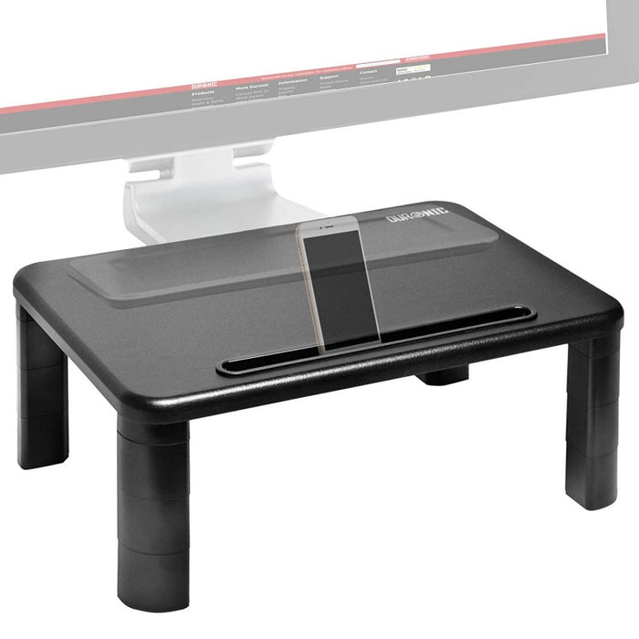 Duronic Monitor Stand Riser DM055 | Laptop and Screen Stand for Desktop | Black Wooden | Support for a TV or PC Computer Monitor | Ergonomic Office Desk Shelf | 10kg Capacity | 40cm x 28cm