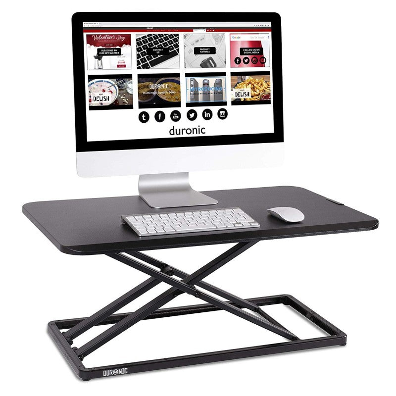 Duronic Sit-Stand Desk DM05D20 | Height Adjustable Office Workstation | 74x45cm Platform | Riser for PC Computer Screen, Keyboard, Laptop | 10kg Capacity | Ergonomic Desktop Table Converter