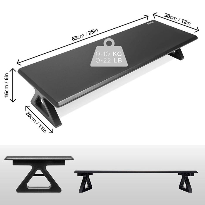 Duronic Monitor Stand Riser DM06-1 | Laptop and Screen Stand for Desktop | Black MDF | Support for a TV Screen or PC Computer Monitor | Ergonomic Office Desk Shelf | 10kg Capacity | 63cm x 30cm