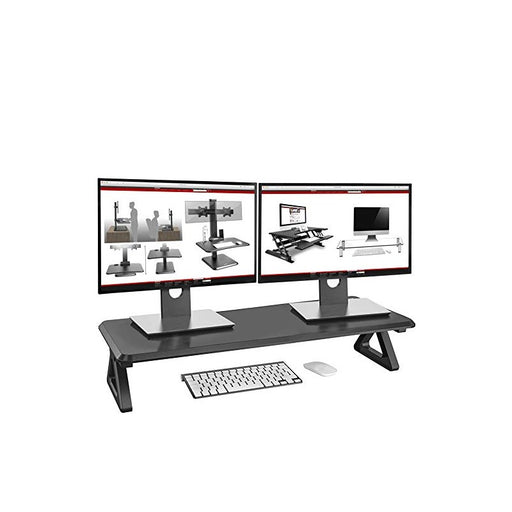 Duronic Monitor Stand Riser DM06-02 | Laptop and Screen Stand for Desktop | Black MDF | Support for a TV Screen or PC Computer Monitor | Ergonomic Office Desk Shelf | 10kg Capacity | 82cm x 30cm