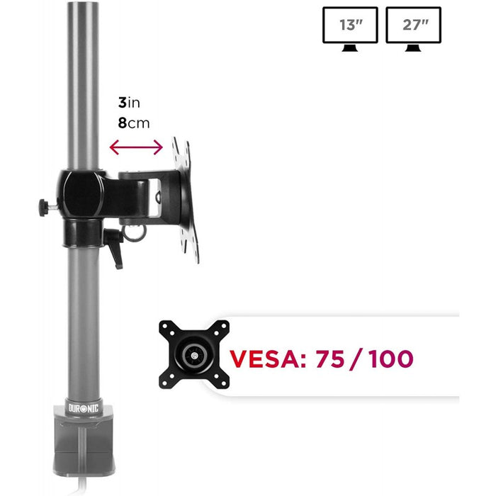 Duronic VESA Head DM35 | Universal Mounting Head to Use with Any Duronic Desk Mount Pole | Bracket for PC Computer Screen | Rotates 360°, Tilts +15°/-15° | Fits VESA 75/100