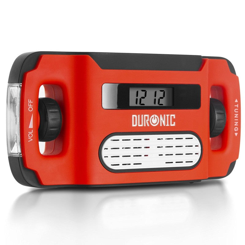 Duronic AM/FM Radio APEX | Charge 3 Ways: Solar, Wind Up, USB | Dynamo Crank Rechargeable | Headphone Jack | Portable | Alarm Clock | Torch | Back-lit Digital Display | Emergency Use, Camping, Hiking