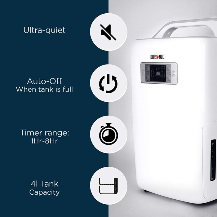 Duronic DH20 Dehumidifier 20 Litre Machine with Timer - Home Mould / Damp and Moisture Remove - Perfect for Your Home | School | Office | Caravan | Garage - Efficient 320W