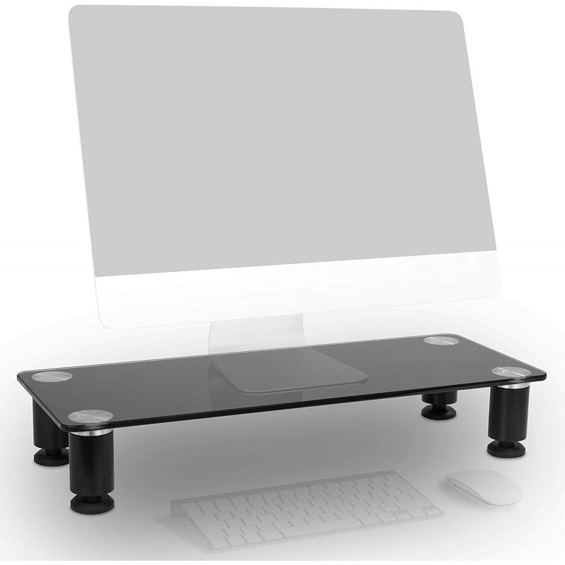 Duronic Monitor Stand Riser DM051 | Laptop and Screen Stand for Desktop | Black Tempered Glass | Support for a TV or PC Computer Monitor | Ergonomic Office Desk Shelf | 40kg Capacity | 63cm x 25cm