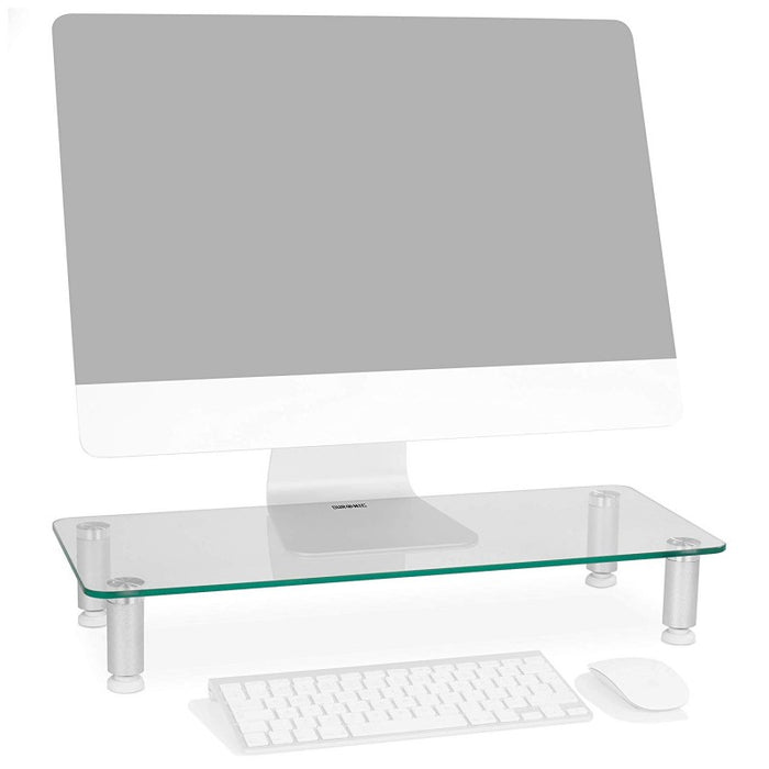Duronic Monitor Stand Riser DM052-1 | Laptop and Screen Stand for Desktop | Clear Tempered Glass | Support for a TV or PC Computer Monitor | Ergonomic Office Desk Shelf | 20kg Capacity | 56cm x 24cm