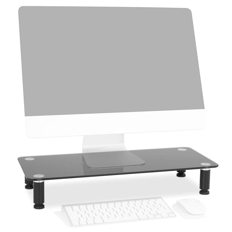 Duronic Monitor Stand Riser DM052-2 | Laptop and Screen Stand for Desktop | Black Tempered Glass | Support for a TV or PC Computer Monitor | Ergonomic Office Desk Shelf | 20kg Capacity | 56cm x 24cm