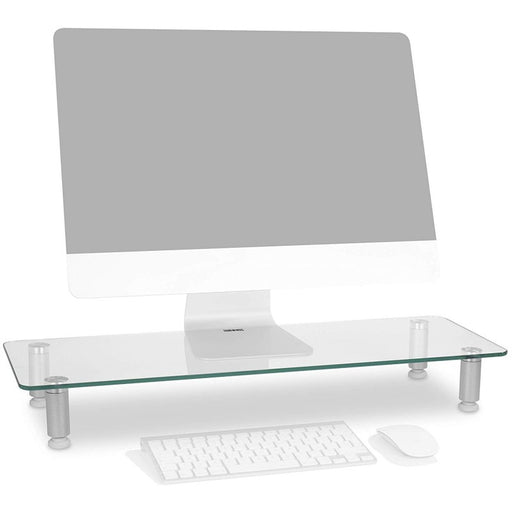 Duronic Monitor Stand Riser DM052-3 | Laptop and Screen Stand for Desktop | Clear Tempered Glass | Support for a TV or PC Computer Monitor | Ergonomic Office Desk Shelf | 20kg Capacity | 70cm x 24cm