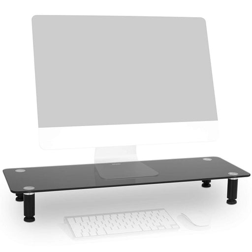 Duronic Monitor Stand Riser DM052-4 | Laptop and Screen Stand for Desktop | Black Tempered Glass | Support for a TV or PC Computer Monitor | Ergonomic Office Desk Shelf | 20kg Capacity | 70cm x 24cm