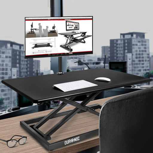 Duronic Sit-Stand Desk DM05D10 | Height Adjustable Office Workstation | 80x51cm Platform | Raises from 5.5-42cm | Riser for PC Computer Screen, Keyboard, Laptop | Ergonomic Desktop Table Converter