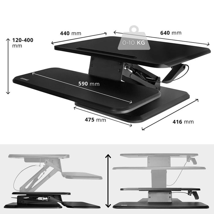 Duronic Sit-Stand Desk DM05D12 | Height Adjustable Office Workstation | 64x45.5cm Platform | Raises from 12-41cm | Riser for PC Computer Screen, Keyboard, Laptop | Ergonomic Desktop Table Converter