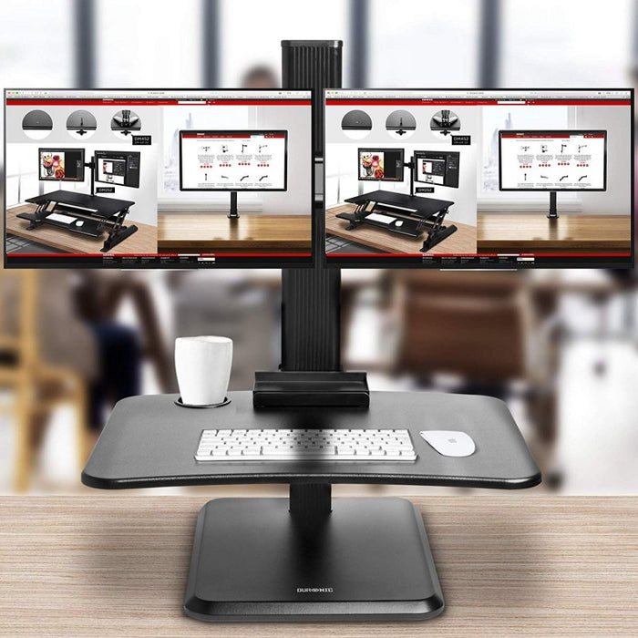 Duronic Sit-Stand Desk DM05D15 | Height Adjustable Office Workstation | 65x35cm Platform | Raises 7-44cm | Riser for PC Computer Screen and Keyboard | Ergonomic Desktop Converter with 2x Screen Mounts
