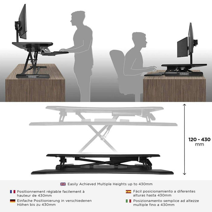 Duronic Sit-Stand Desk DM05D16 | Height Adjustable Office Workstation | 64x45.5cm Platform | Raises from 12-41cm | Riser for PC Computer Screen, Keyboard, Laptop | Ergonomic Desktop Table Converter