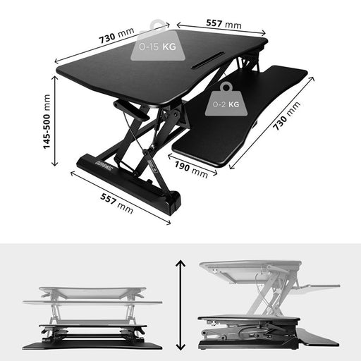Duronic Sit Stand Desk DM05D3 Height Adjustable PC Laptop Workstation – for PC Computer Laptop | Monitor and Keyboard Riser | Ergonomic Desktop Table Converter – Compatible with Duronic Desk Mount