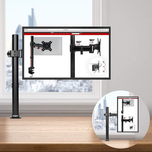 Duronic Monitor Arm Stand DM151X2 | Single PC Desk Mount | Steel | Height Adjustable | For One 13-27 LED LCD Screens | VESA 75/100 | 8kg Per Screen | Tilt -90°/+35°,Swivel 180°,Rotate 360°…