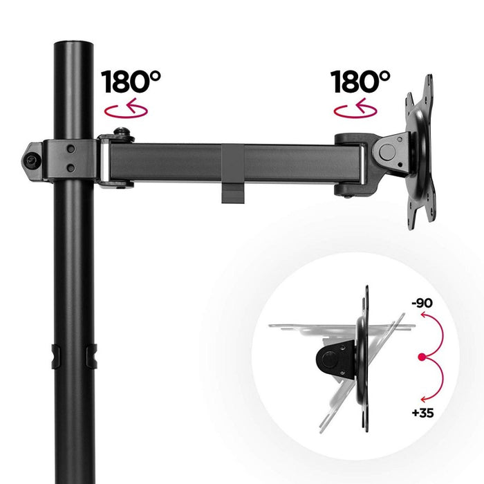 Duronic Single Monitor Arm Stand DM151X2 | PC Desk Mount | BLACK | Steel | Height Adjustable | For One 13-32 LED LCD Screen | VESA 75/100 | 8kg/17.6lb Capacity | Tilt -90°/+35°,Swivel 180°,Rotate 360°