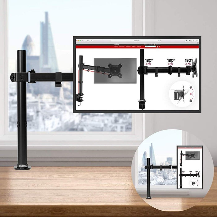 Duronic Monitor Arm Stand DM151X3 | Single PC Desk Mount | Steel | Height Adjustable | For One 13-27 LED LCD Screens | VESA 75/100 | 8kg Per Screen | Tilt -90°/+35°,Swivel 180°,Rotate 360°…