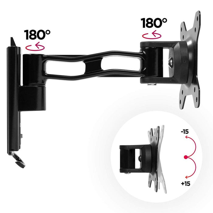 "Duronic Monitor Arm Wall Mount DM35W1X2 | Bracket for Single PC Computer Screen | Aluminium | For One 13""-30"" LED LCD TV Television 