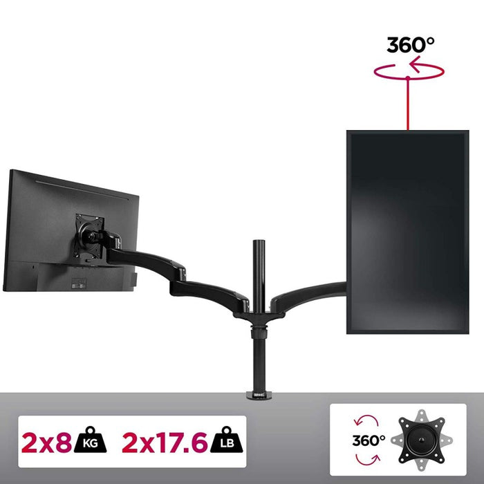 Duronic Monitor Arm Stand DM452 | Double PC Desk Mount | Solid Steel | Height Adjustable | For Two 15-27 LED LCD Screens | VESA 75/100 | 8kg Per Screen | Tilt -90°/-45°, Rotate 360°