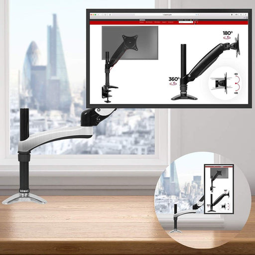 Duronic DM651X2 Gas Powered Single LCD LED Gas Desk Mount Arm Monitor Stand Bracket with Tilt and Swivel (Tilt -90°/+85°|Swivel 180°|Rotate 360°) + 2 Years Warranty