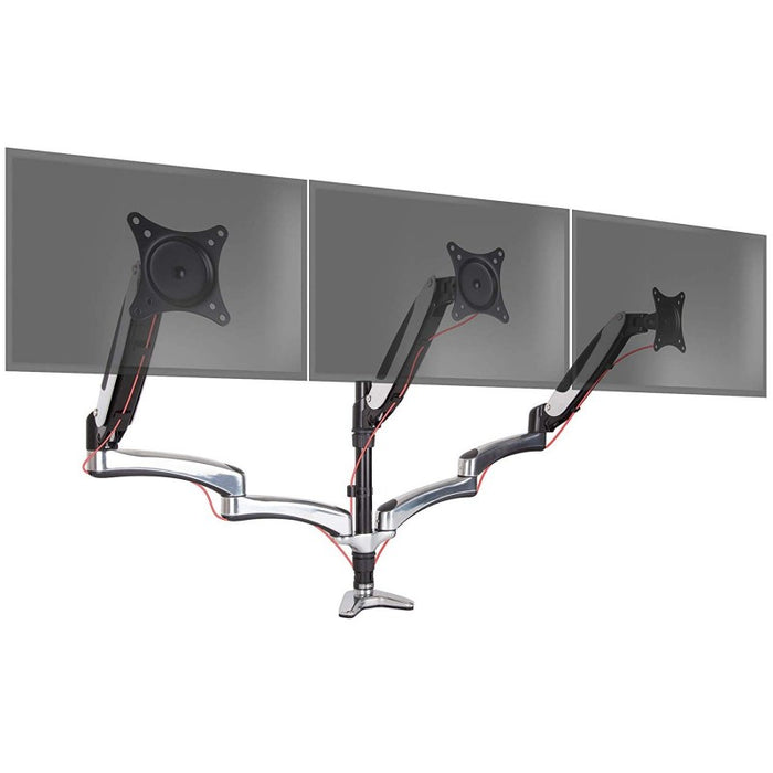 Duronic DM653 Gas Powered Triple LCD LED Desk Mount Arm Monitor Stand Bracket with Tilt and Swivel (Tilt -90°/+85°|Swivel 180°|Rotate 360°) + 2 Years Warranty