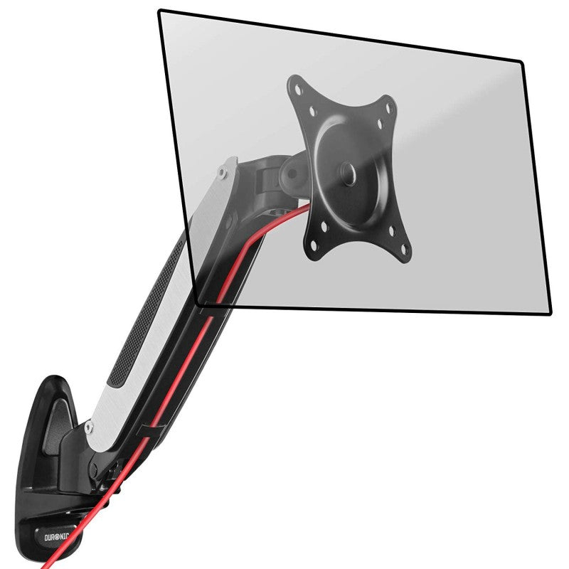Duronic DM65W1X1 Gas Powered Single LCD LED Wall Mount Arm Monitor Bracket with Tilt and Swivel (Tilt -90°/+85°|Swivel 180°|Rotate 360°) + 2 years Warranty