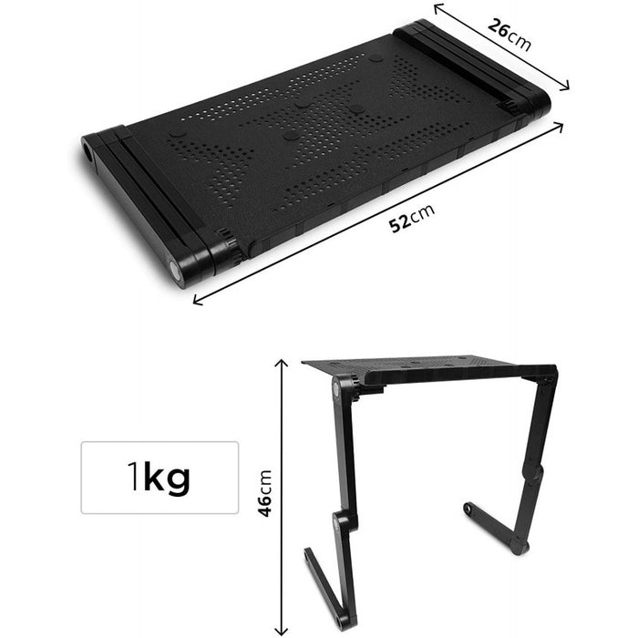 Duronic Laptop Stand DML121 | Multi-Use Folding Desk Riser | Highly Adjustable | Support Tray for Tablet or MacBook | Ergonomic | Folds Flat | Portable Table | 6 Leg Joints Each Adjust in 24 Places