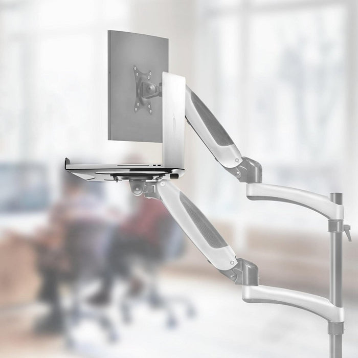 Duronic Laptop Attachment Stand DML2 | Desk Mount Support Tray for Laptop, Tablet or MacBook | VESA 75/100 | 8kg Capacity | Compatible with DM15 DM25 DM45 DM55 DM65 DMUSB DMDC DMG