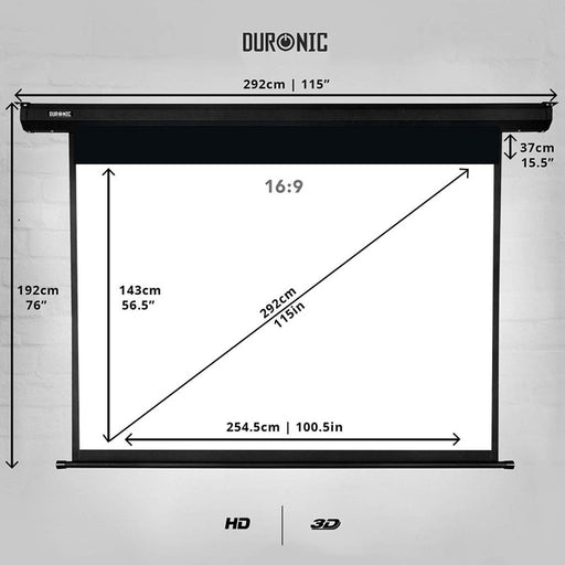 Duronic Projector Screen EPS115/169 HD Projection Screen (Projector Screen: 254.5cm (w) X 143cm(h) 16:9 Widescreen Electric Motorised switch control 4K / 8K Ultra HDR 3D Ready (16:9)