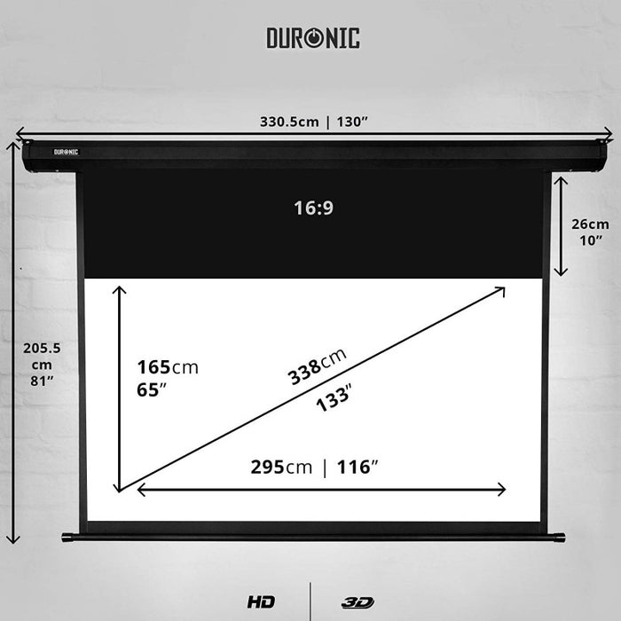 "Duronic Projector Screen EPS133/169 HD Projection Screen 133"" (Screen: 295cm(w) X 165cm(h))- 16:9 Widescreen Matte White Screen - Electric Motorised switch control 4K / 8K Ultra HDR 3D Ready (16:9)"