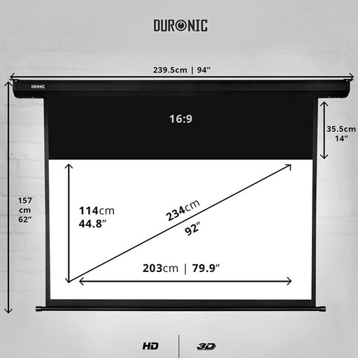 Duronic Projector Screen EPS92/169 HD Electric Projection Screen For | School | Theatre | Cinema | Home ( 203cm(w) X 114cm(h)-16:9 Widescreen Motorised switch control 4K / 8K Ultra HDR 3D Ready (16:9)