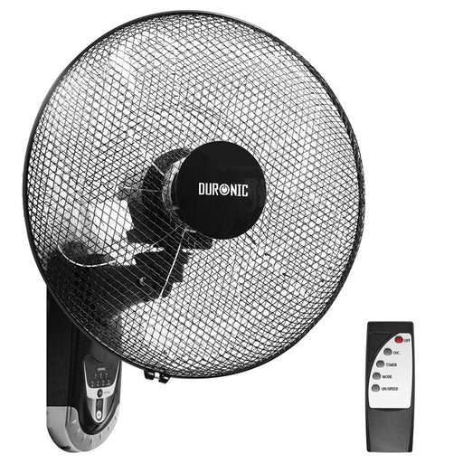 Duronic FN55 Wall Mounted 16 inch Oscillating Black Fan with Remote Control - 60W