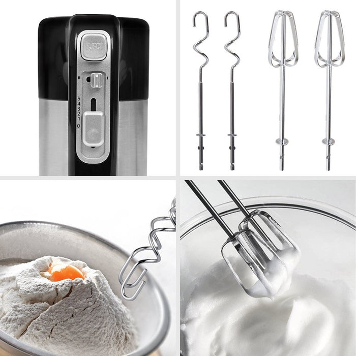Duronic HM3 Electric Hand Mixer Set 300W | Black & Stainless Steel |Baking |Storage Stand | 5 Speed | Turbo Function | 2 Beaters | 2 Hooks